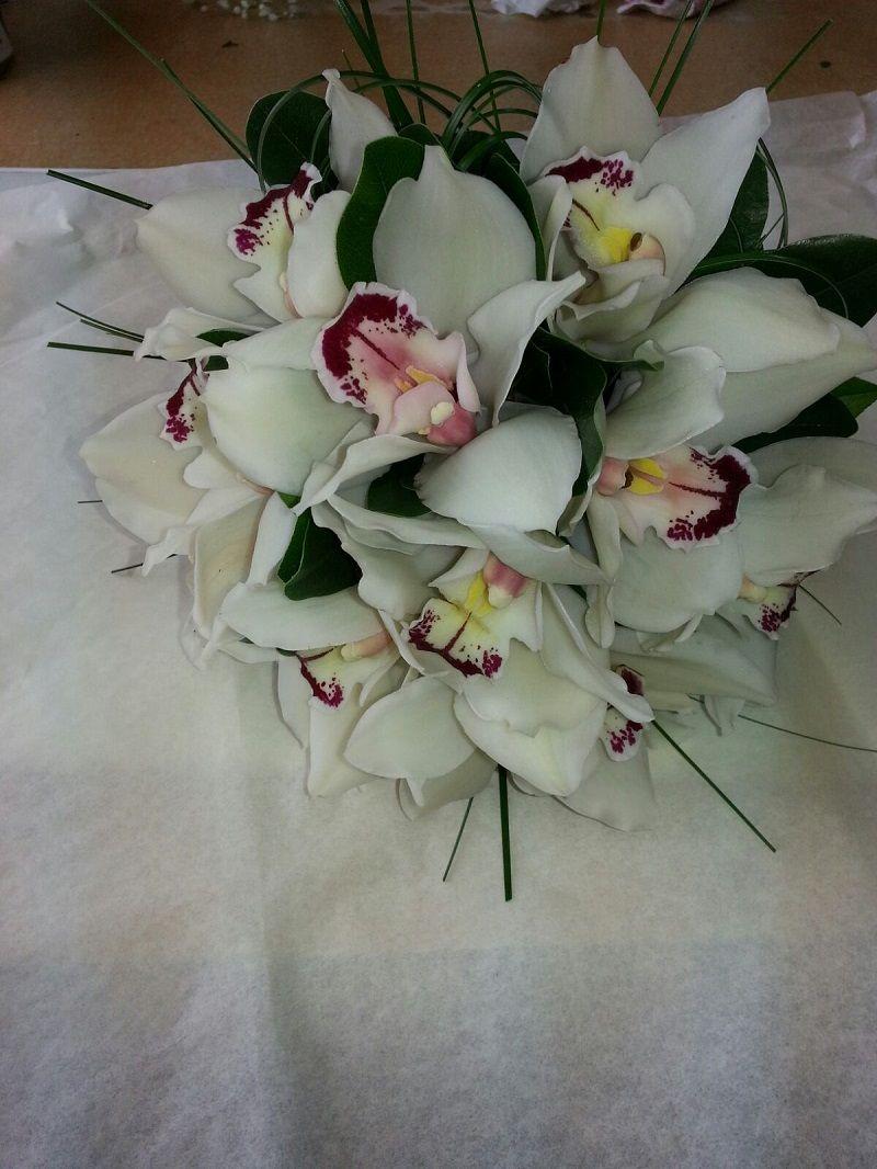 centro de orquídeas blancas