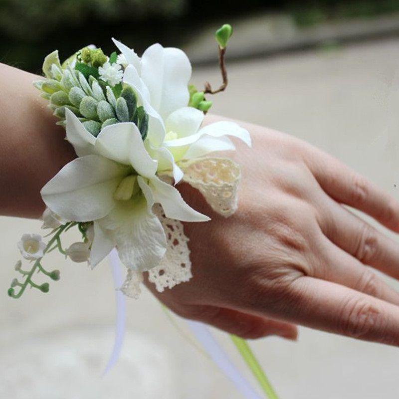 ramillete de orquídeas blancas para la muñeca